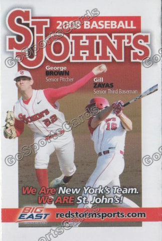 George Brown Gill Zayas 2008 St Johns Red Storm Pocket Schedule