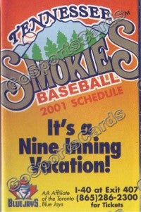 2001 Tennessee Smokies Pocket Schedule