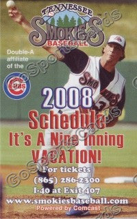 2008 Tennessee Smokies Samardzija Pocket Schedule