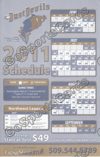 2011 Tri City Dust Devils Pocket Schedule Flyer