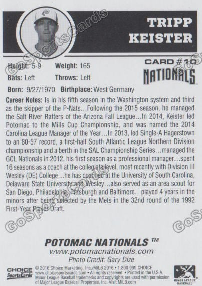2016 Potomac Nationals Tripp Keister Back of Card