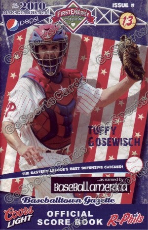Tuffy Gosewisch 2010 Reading Phillies Gazette Program (SGA)