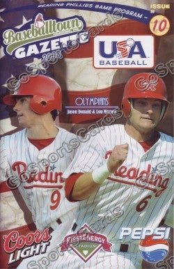 Jason Donald Lou Marson 2008 USA Olympics Reading Phillies Gazette Program (SGA)