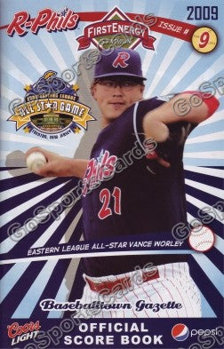 Vance Worley 2009 Reading Phillies Gazette Program (SGA)