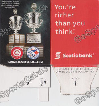 2013 Vancouver Canadians Pocket Schedule Box (Northwest League Champions 2 in a row)