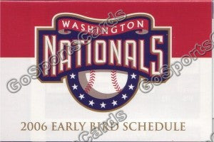 2006 Washington Nationals Early Bird Pocket Schedule