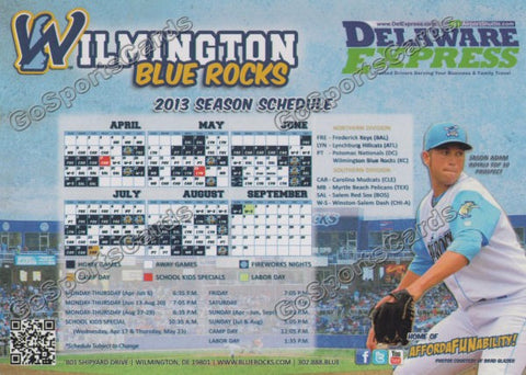 2013 Wilmington Blue Rocks Magnet Pocket Schedule (Jason Adam) SGA