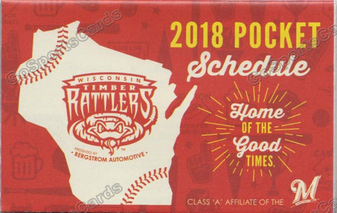 2018 Wisconsin Timber Rattlers Pocket Schedule
