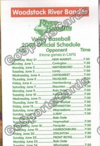 2008 Woodstock Riverbandits Pocket Schedule