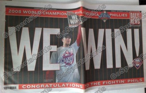 "2008 World Series Philadelphia Phillies Newspaper ""We Win!"""