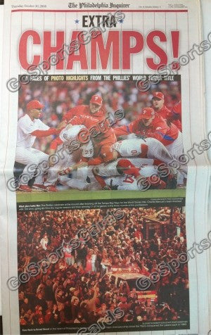 "2008 World Series Philadelphia Phillies Newspaper ""Champs!"""