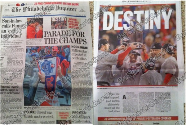 "2008 World Series Philadelphia Phillies ""Parade for the Champs"" Newspaper"