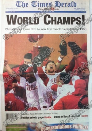 "2008 World Series Philadelphia Phillies Newspaper ""World Champs"""
