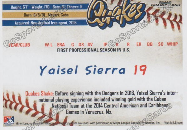 2016 Rancho Cucamonga Quakes Yaisel Sierra Back of Card