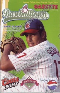 Zack Segovia 2006 Reading Phillies Gazette Program (SGA)
