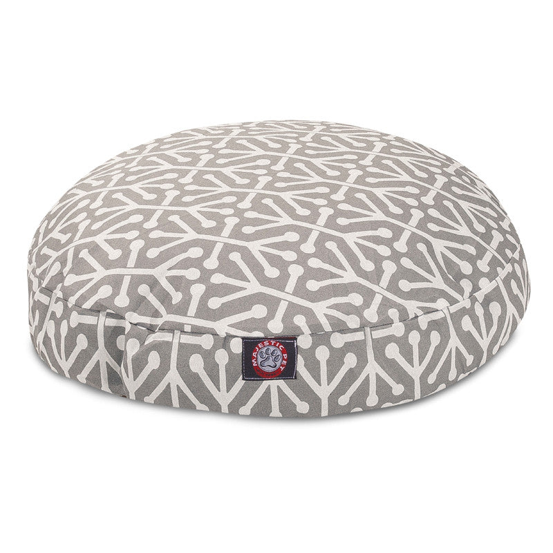 Gray round dog bed : Round pet bed aruba gray red rock pets