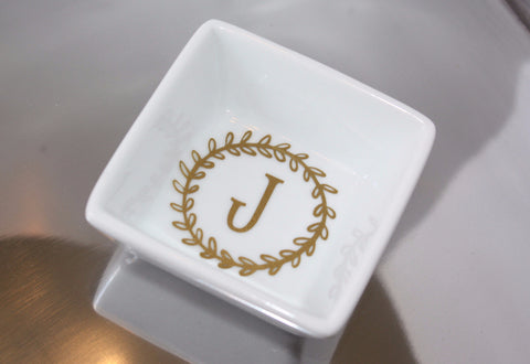 "Personalized 4""x4"" White Trinket Dish"