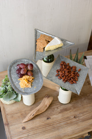 Bottle Topper Zinc Serving Trays, 3 Styles