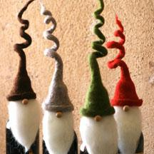 Felt Santa Wine Topper with Curly Hats
