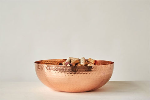 "14"" Round Metal Bowl w/ Copper Finish"