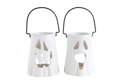 Ghost Face Ceramic Lantern w/ & Metal Handle, 2 Styles