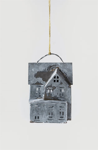 Galvanized Metal House Ornament, 2 Sizes