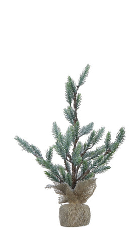 Snow Finish Faux Christmas Tree in Burlap Base