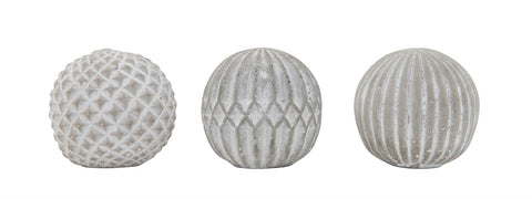 Small Round Cement Ball Decor, 3 Styles