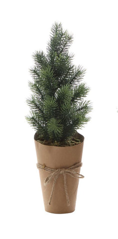 Artificial Tree w/ Paper Wrapped Pot, Green