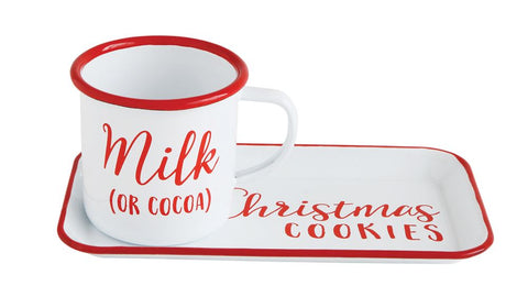 "Enameled Tray ""Christmas Cookies"" w/ Enameled Mug ""Milk (or Cocoa)"", Set of 2"
