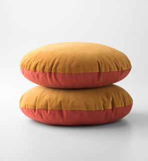 Orange Velvet + Wool - Circle Pillow