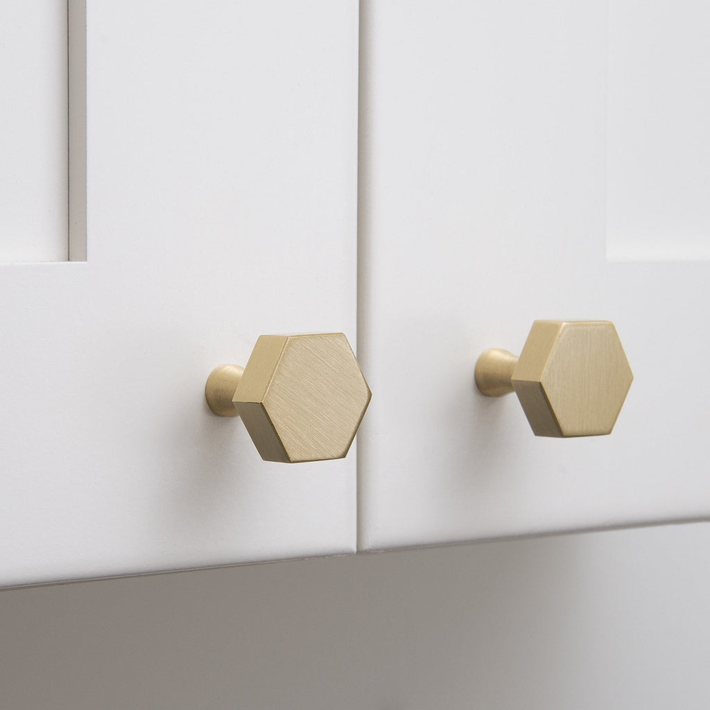 Captivating ... Hex Knob   Natural Brass ...
