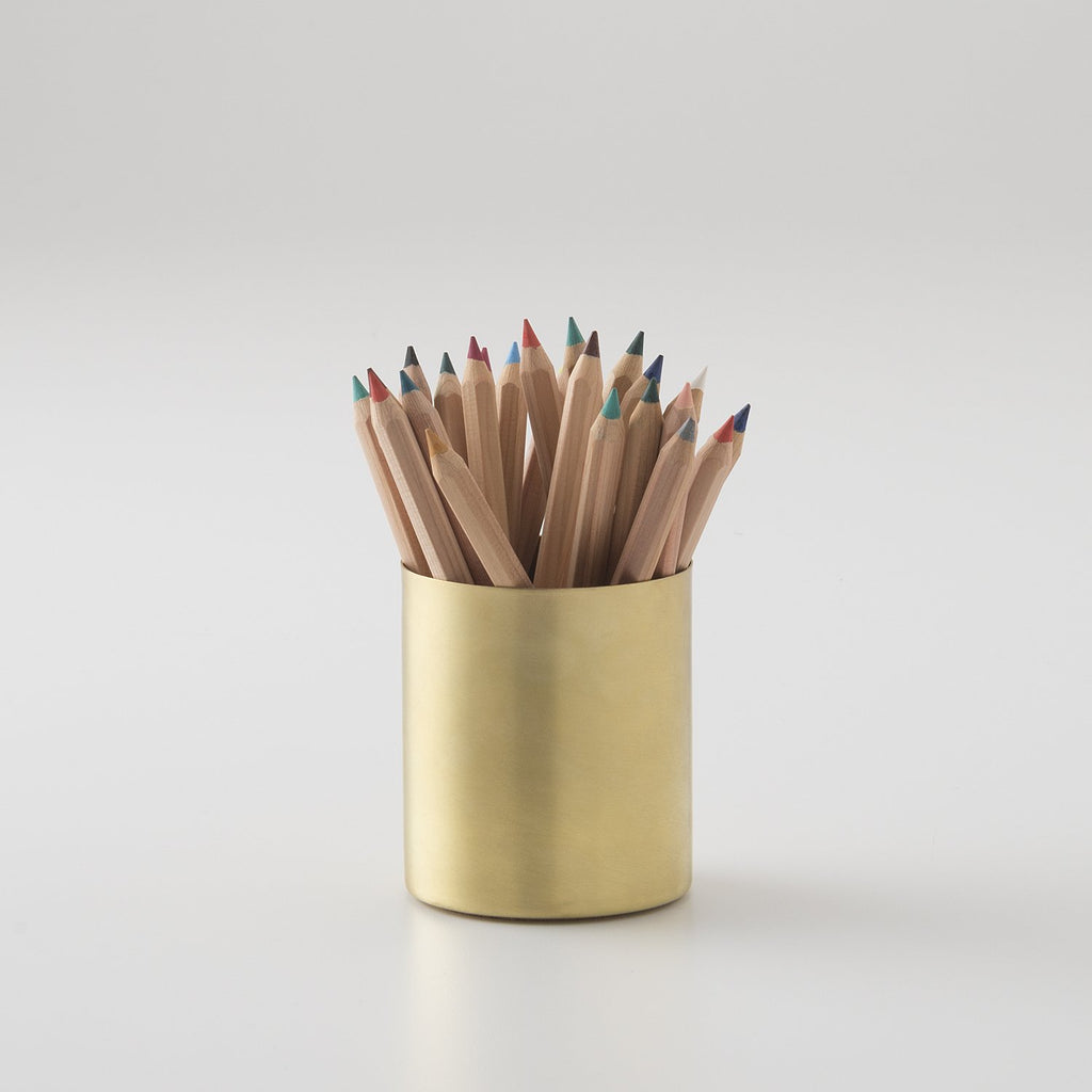 Colored Pencils with Brass Cup Set