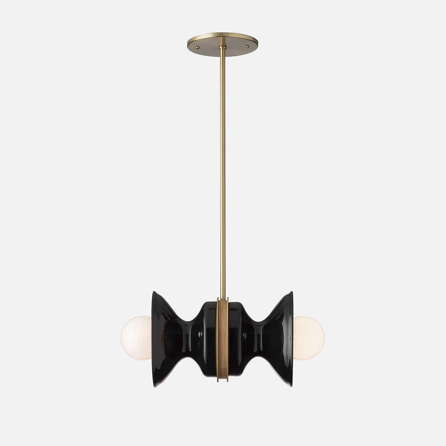 Regent Double Pendant Natural Brass Black Ceramic