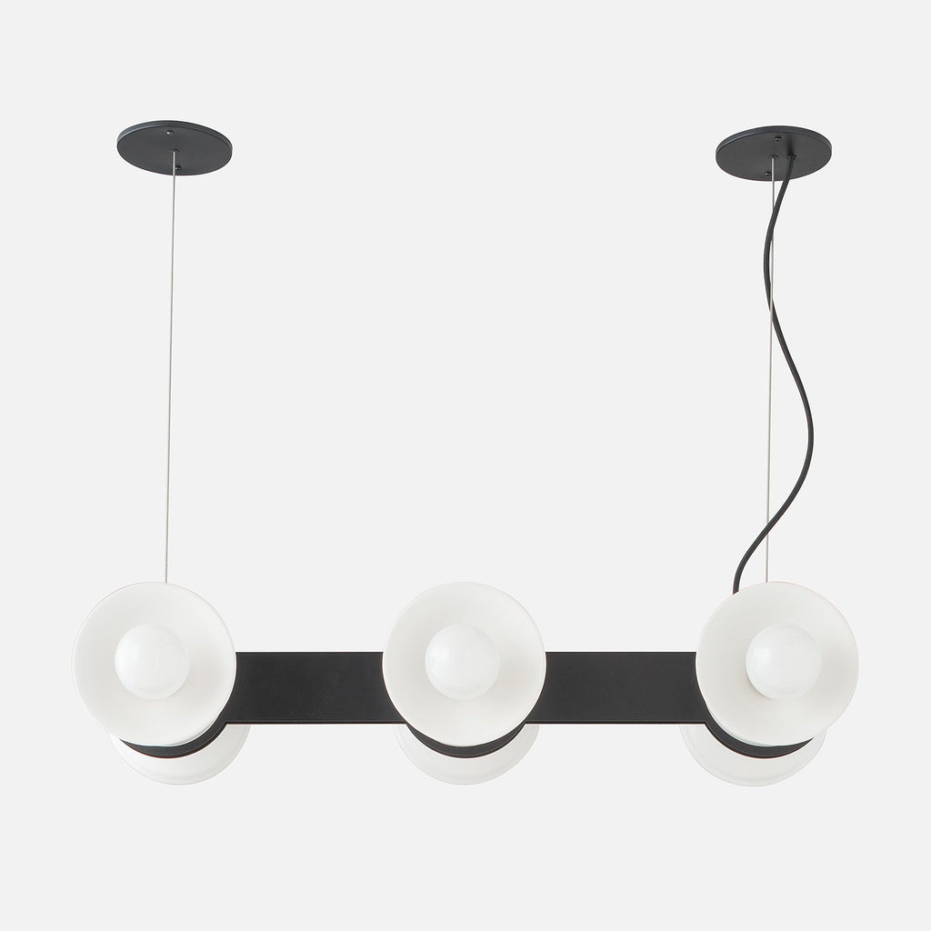 Regent Chandelier True Black White Ceramic