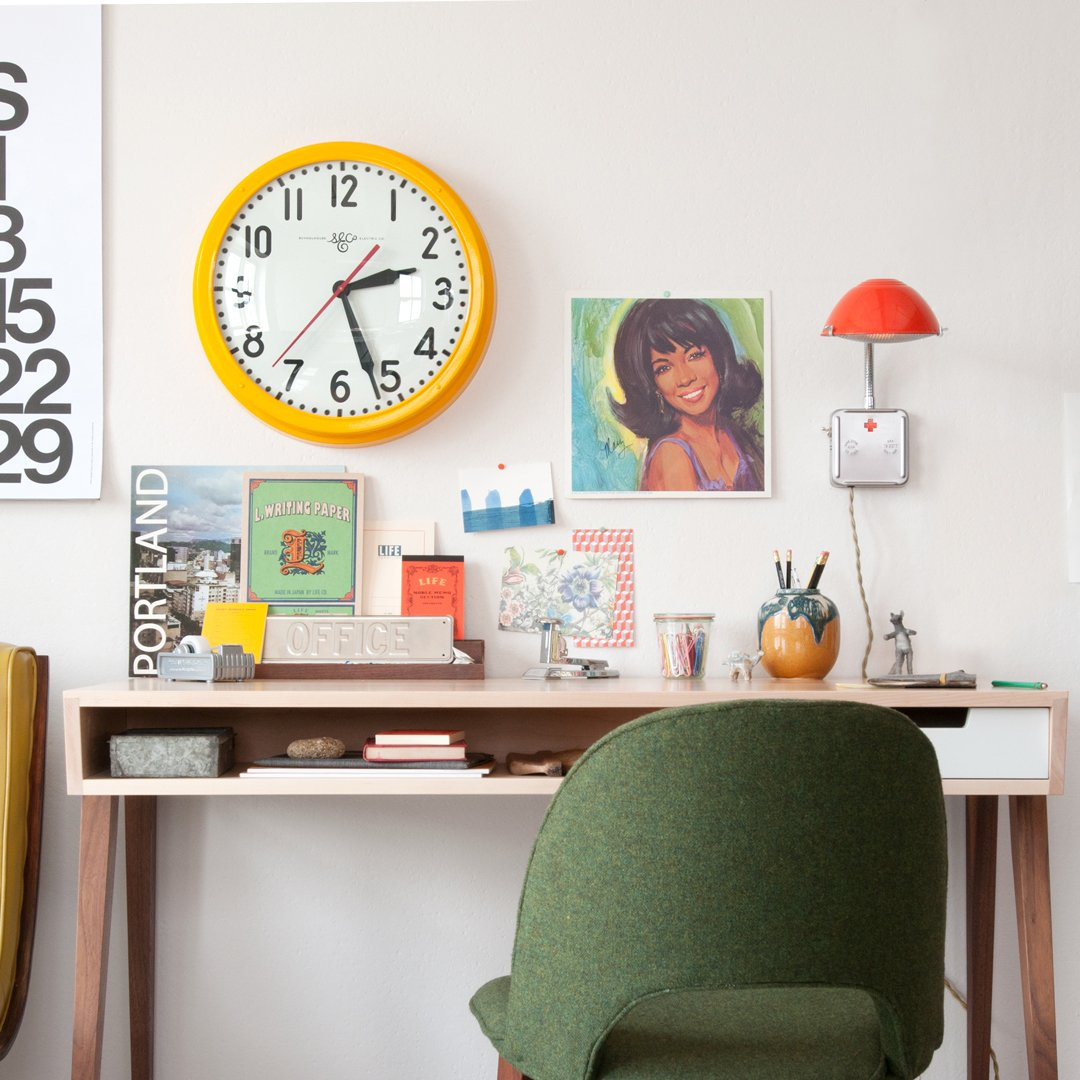 Schoolhouse Electric Clock - Industrial Yellow
