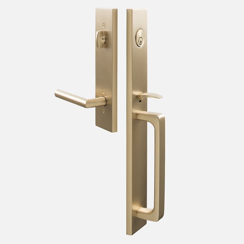 Lausanne Entrance Handleset With Otto Lever Satin Brass Schoolhouse