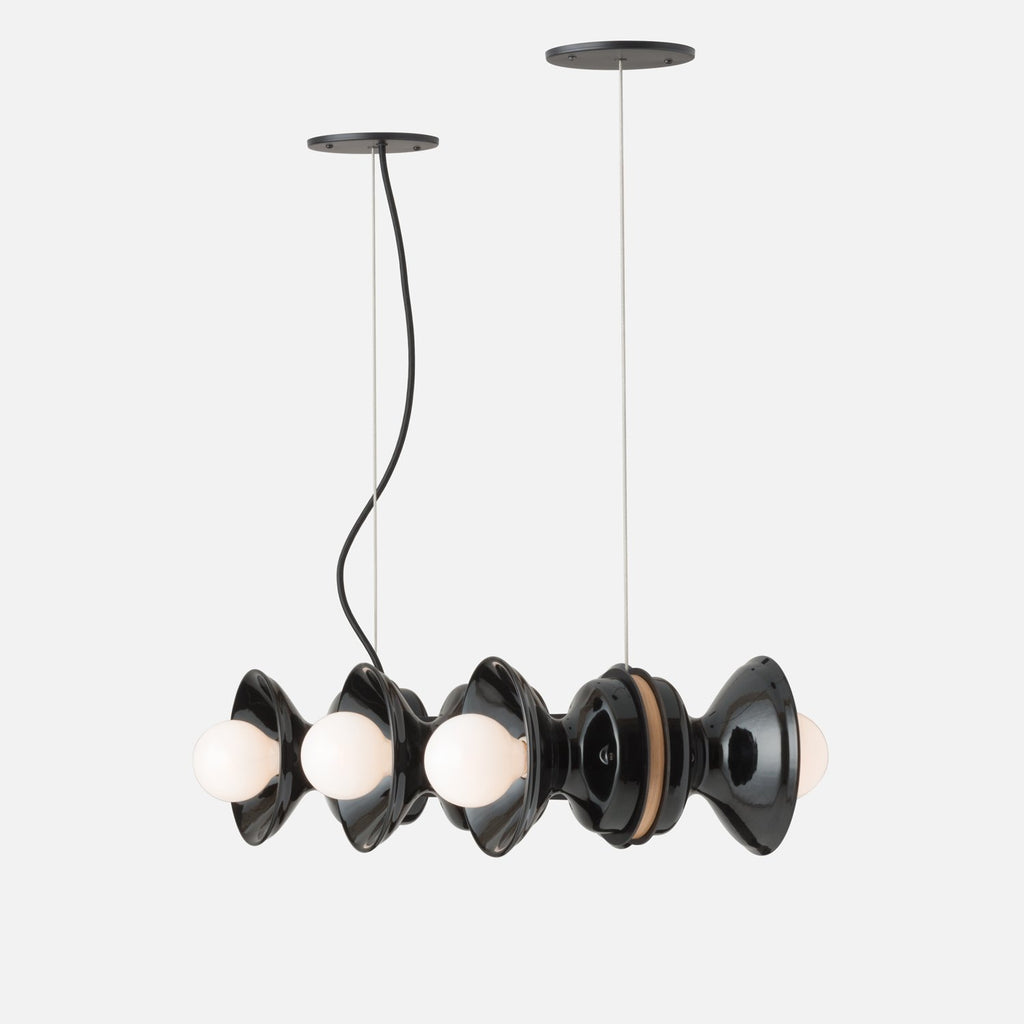 Regent Chandelier Natural Brass Black Ceramic