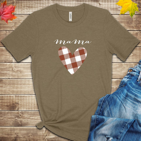 Mama Love Plaid Heart Fall T Shirt