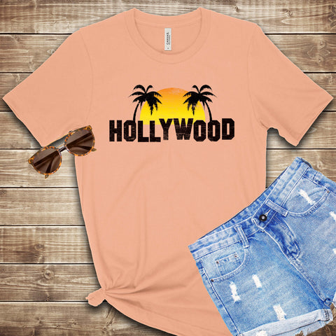 Hollywood Sunset and Palm Trees T Shirt