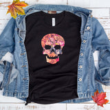 Flower Skull Fall Halloween T Shirt