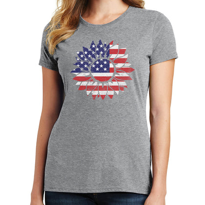 American Flag Sunflower T Shirt
