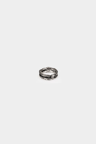 Oxidised double silver ring