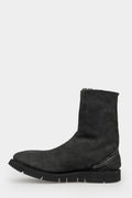 Spiral zip shearling boots