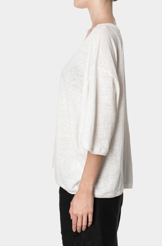 PRE-ORDER | Extended sleeve cropped linen tee, White