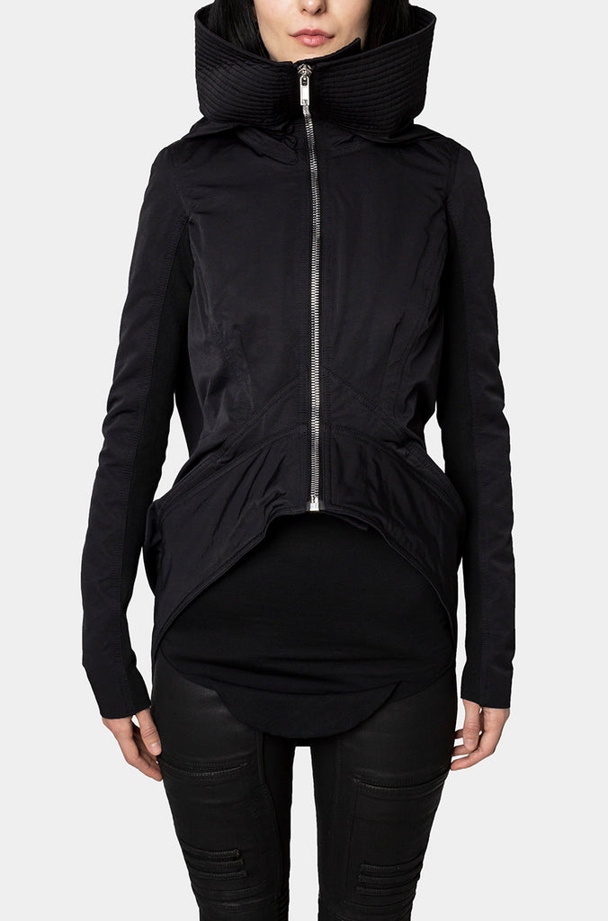 Back drape hooded padded jacket
