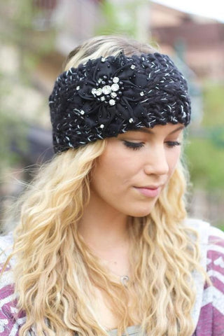 Knit head wraps with bling