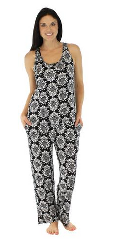 Women's Bamboo Jersey Tank and Pant Pajama in Martini Damask Black - Lily Wings - 1