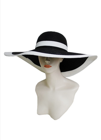 Stripe back & white straw hat