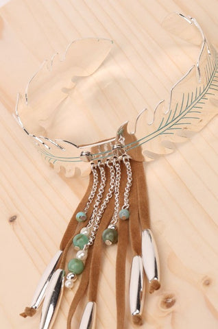 BOHO STYLE FEATHER SHAPED BEADED METALLIC ARM CUFF